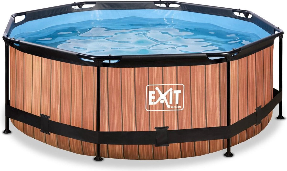 EXIT Wood zwembad ø244x76cm met filterpomp - bruin