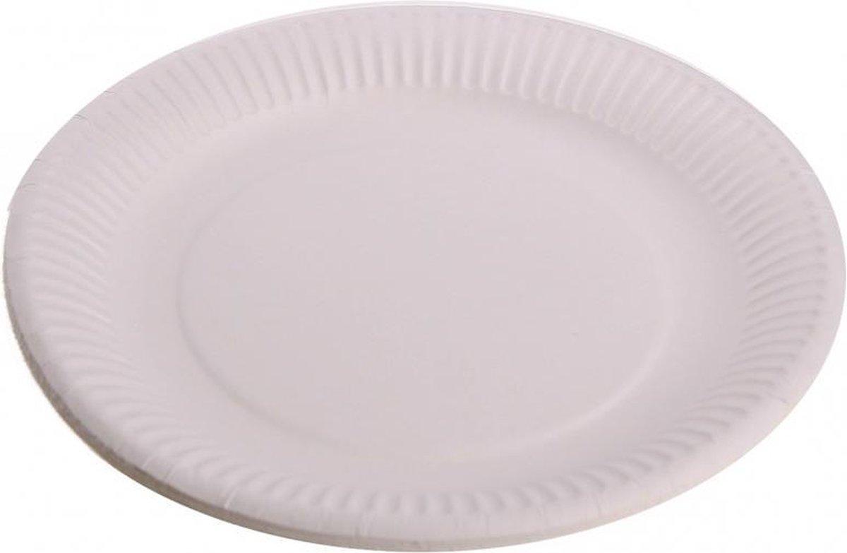 100x Kartonnen bordjes wit 23 cm - Wegwerp borden - Feest/verjaardag/BBQ borden