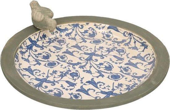Esschert Design Keramiek Vogelbad Met Print - Grijs/ Blauw - 33,5 x 33,5 x 10,8 cm