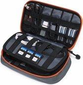 Kabel Organizer Tas Deluxe – 3 lagen - Travel Organizer - Kabeltas - Sunflake - Grijs Oranje