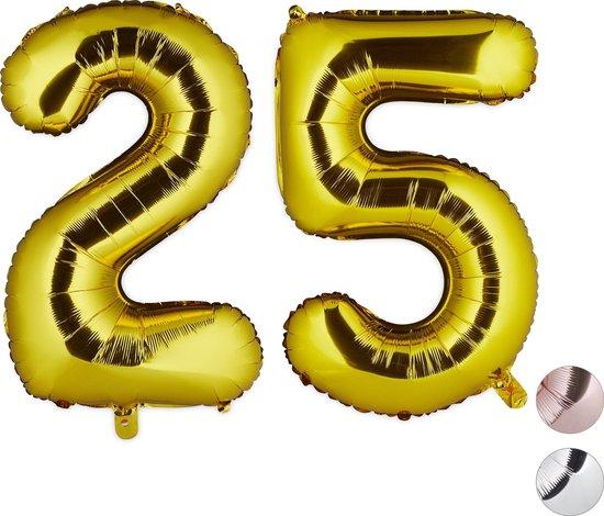relaxdays 1x folie ballon 25 - cijferballon - verjaardag - cijfer - XXL - goud - nummer