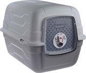 Bol.com-Georplast RotoToilet kattenbak inclusief filter  schepje en klep – 52 x 40 x 40 cm – met klapdeksel - Grijs wit - Kattentoilet met klep-aanbieding