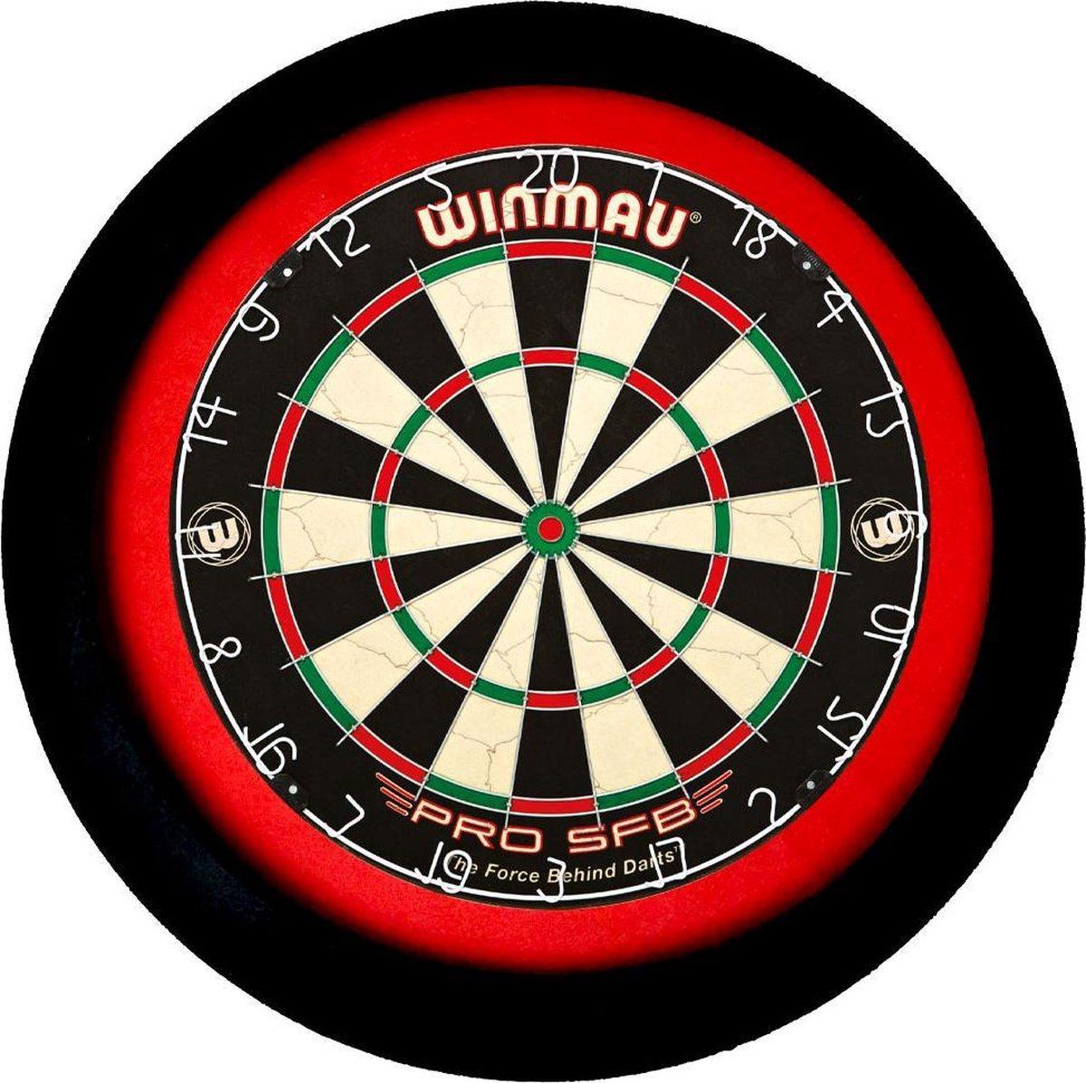 LENA Dartbord Verlichting Super Deluxe (Zwart -Rood)