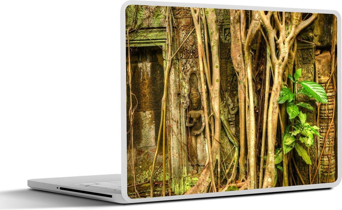 Laptop sticker - 15.6 inch - Close-up van boom bij de Ta Prohm tempel