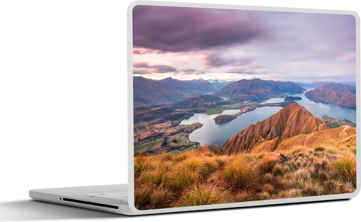 Laptop sticker - 12.3 inch - Zonsondergang over het Wanakameer in Nieuw-Zeeland