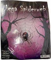 Mega Spinnenweb met spin 150cm Wit