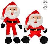 Kerst decoratie Kerstmannen pop van pluche 41 cm - Kerstdecoratie Kerstmannen poppen