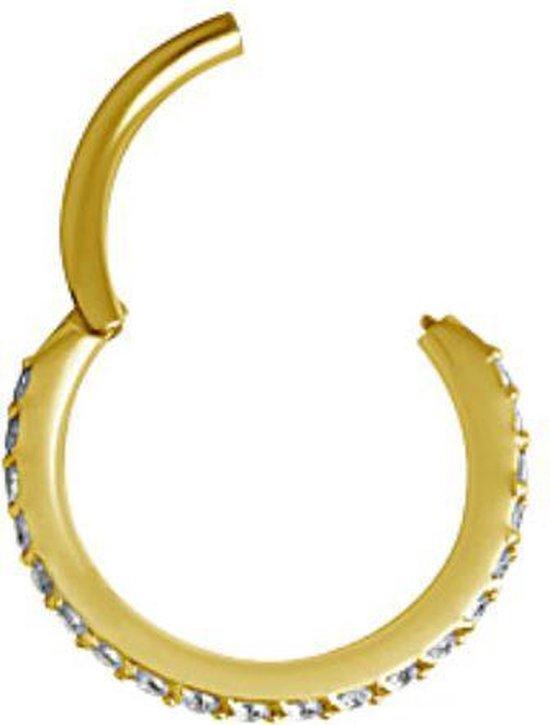 Vergulde Piercing Ring met Swarovski Kristalletjes (8mm) | Piercingsworks Amsterdam - Piercings works