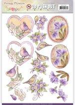 Uitdrukvel  - Jeanine's Art - Vintage Bloemen - Verbleekt Paars