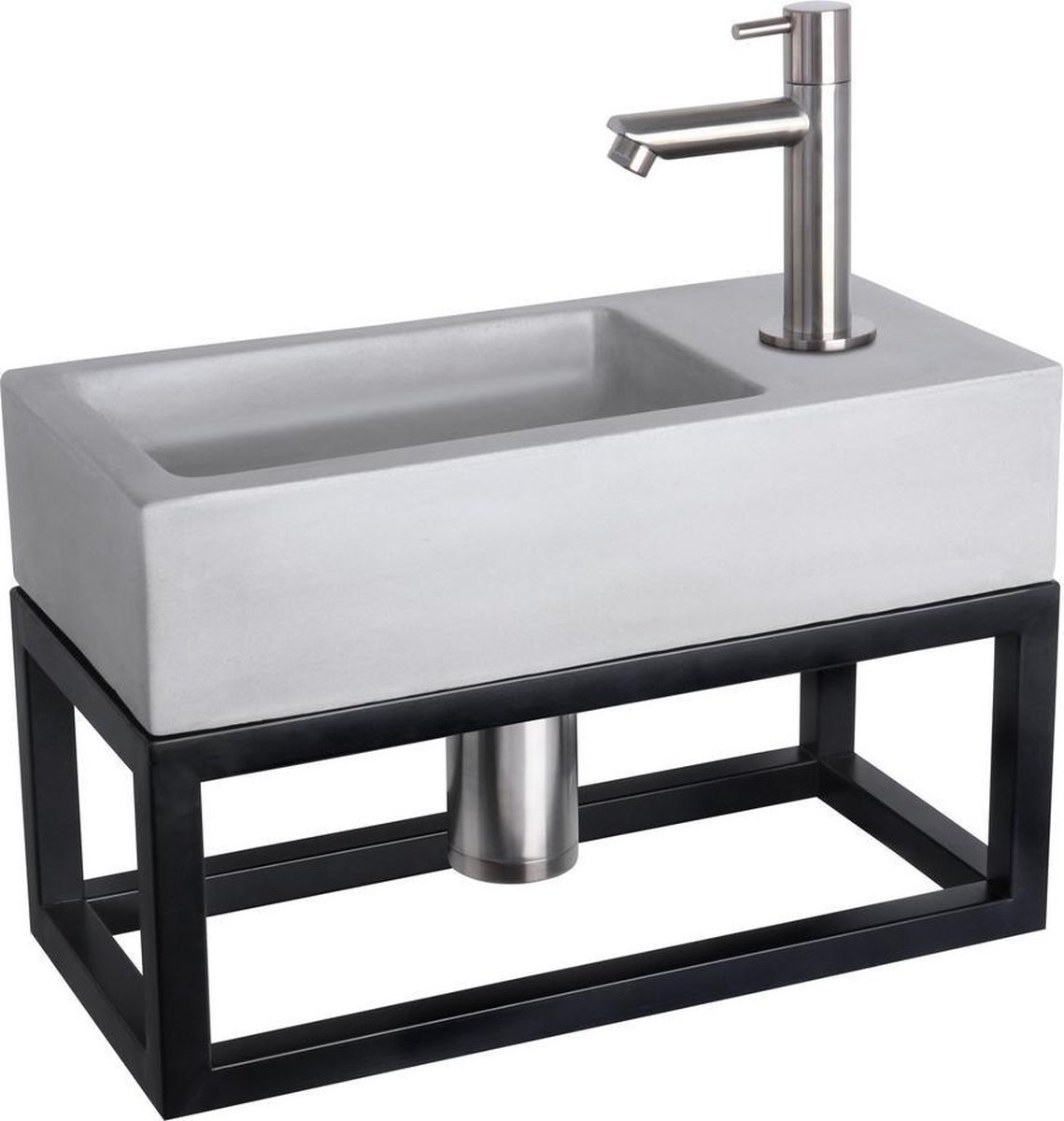 Differnz Ravo Fonteinset - Beton lichtgrijs - Kraan recht mat chroom - Met handdoekrek - 38.5 x 18.5 x 9 cm