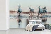 Fotobehang Camargue - Wilde witte paarden galopperen door het water in Camargue breedte 390 cm x hoogte 260 cm - Foto print op vinyl behang (in 7 formaten beschikbaar) - slaapkamer/woonkamer/kantoor