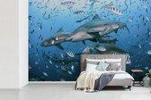 Fotobehang vinyl - Groep stierhaaien in de oceaan bij Fiji breedte 420 cm x hoogte 280 cm - Foto print op behang (in 7 formaten beschikbaar)