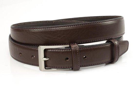Donker bruine pantalonriem 3 cm breed - Bruin - Casual - Leer - Taille: 90cm - Totale lengte riem: 105cm - Unisex riem