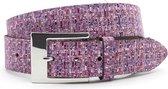 Dames ceintuur roze tweed 4 cm breed - Roze - Casual - Leer - Taille: 105cm - Totale lengte riem: 120cm - Vrouwen riem