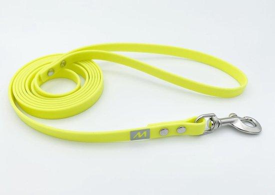 Miqdi BioThane hondenriem – neon geel – 13 mm breed - 5 meter lang - met handvat