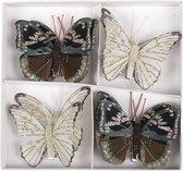 8x Decoratie vlinders op clip bruin/creme 8 cm - vlindertjes decoraties - Kerstboomversiering / woondecoratie / knutsel/hobby