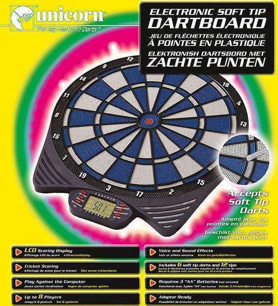 Thumbnail van een extra afbeelding van het spel Unicorn Electronic Softtip Dartbord