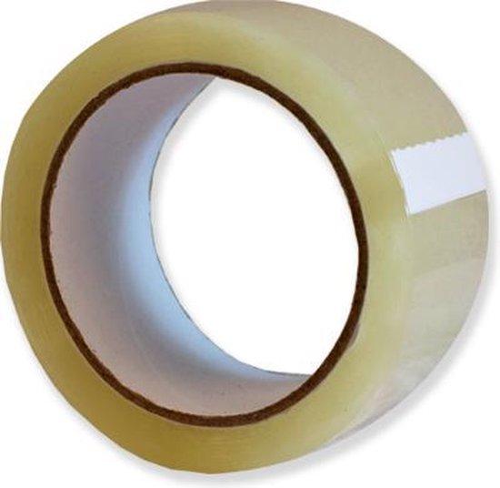 Verpakkingstape Transparant PP Acryl 50mmx66m één pak met 6 rollen
