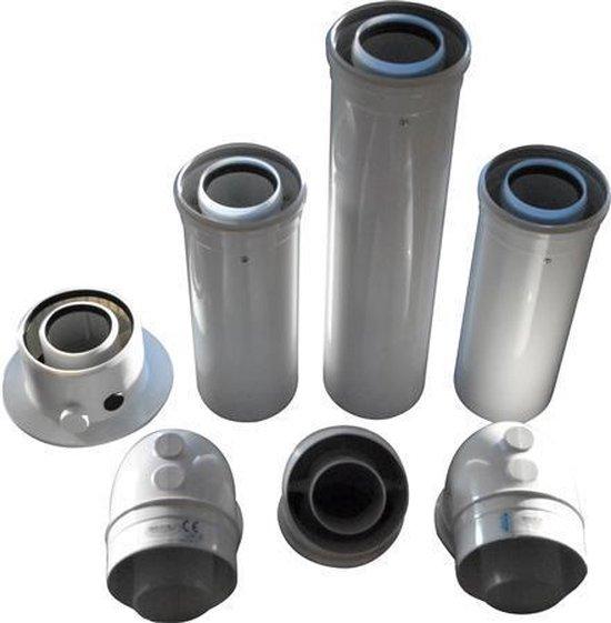 Zehnder enkelwandig rookgas, Combiflow aansluitset/verbindingselement, voor onder t.b.v. Nefit ketel