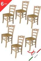Tommychairs - Set van 6 klassieke stoelen model Savoie. Zeer geschikt voor keuken, bar en eetkamer, sterke structuur in gepolijst beukenhout, niet behandeld, 100% natuurlijk en zitting in stro