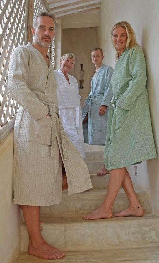 ZusenZomer badjas dames heren - katoen wafel - ochtendjas - taupe - L/ XL - ZusenZomer