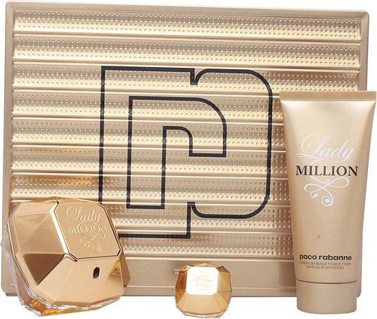 Paco Rabanne - Lady Million 80ml - Bodylotion 100ml - Reisparfum 5ml - Eau de Parfum - Geschenkset 3-delig