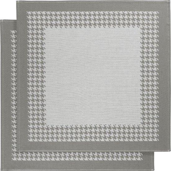 De Witte Lietaer Pied de Poule - Theedoek - 66x66 cm - Set van 2 - Grey