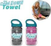 Cool Down Towel Grey + Pink sport handdoek