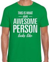 Awesome Person tekst t-shirt groen heren - heren fun tekst shirt groen 2XL