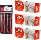 Witte boetseerklei van DAS 3 x 500 gram inclusief boetseer gereedschap setje - Hobby boetseer klei met gereedschap