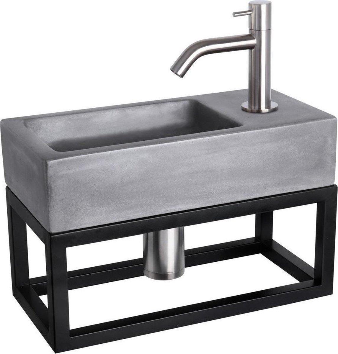 Differnz Ravo Fonteinset - Beton donkergrijs - Kraan gebogen mat chroom - Met handdoekrek - 38.5 x 18.5 x 9 cm
