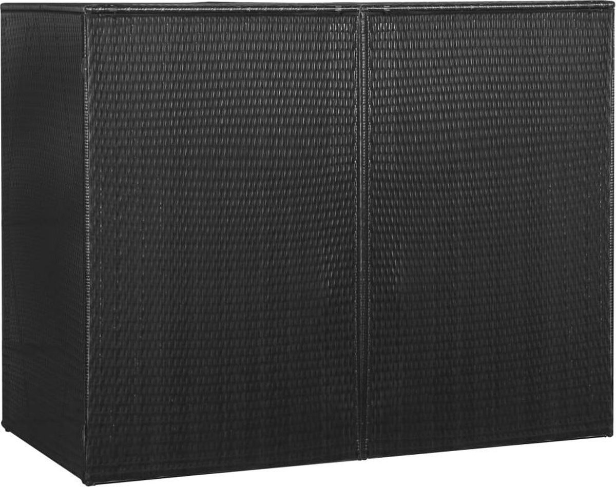 vidaXL Containerberging dubbel 153x78x120 cm poly rattan zwart