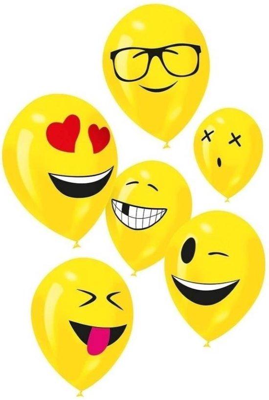 Ballonnen - Geel - Emoticons - 30cm - 6st.