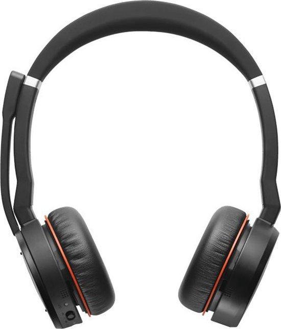Jabra Evolve 75 MS Stereo Headset Hoofdband Bluetooth Zwart, Rood