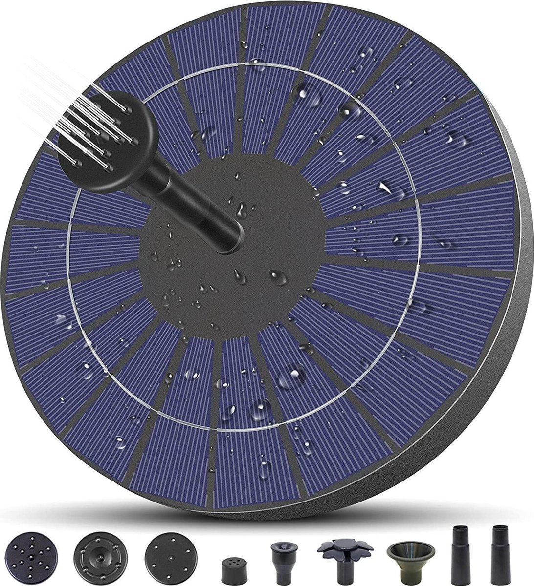 Fontein op Zonne Energie - Solar Fontein Pomp - Vijver Fontein - Milieuvriendelijke Fontijn - 6 Opzetstukken