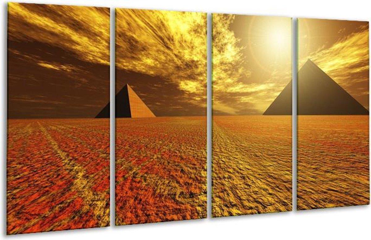 Glasschilderij Piramide   Geel, Bruin, Wit   160x80cm 4Luik   Foto print op Glas    F000457
