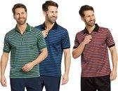 Polo shirt, Goen/Blauw gestreept, Maat M