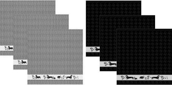 DDDDD Keukendoeken En Theedoeken Set Saar Black (3+3 stuks)