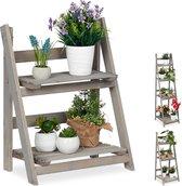 relaxdays plantenrek - hout - plantentrap - bloemenrek - bloementrap - etagère - grijs M