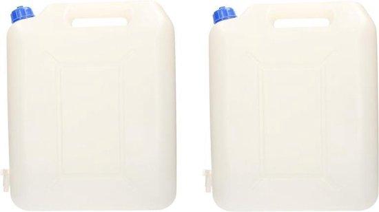 2x Jerrycan voor water 20 liter - inclusief schenkkraan - waterjerrycans / watertank