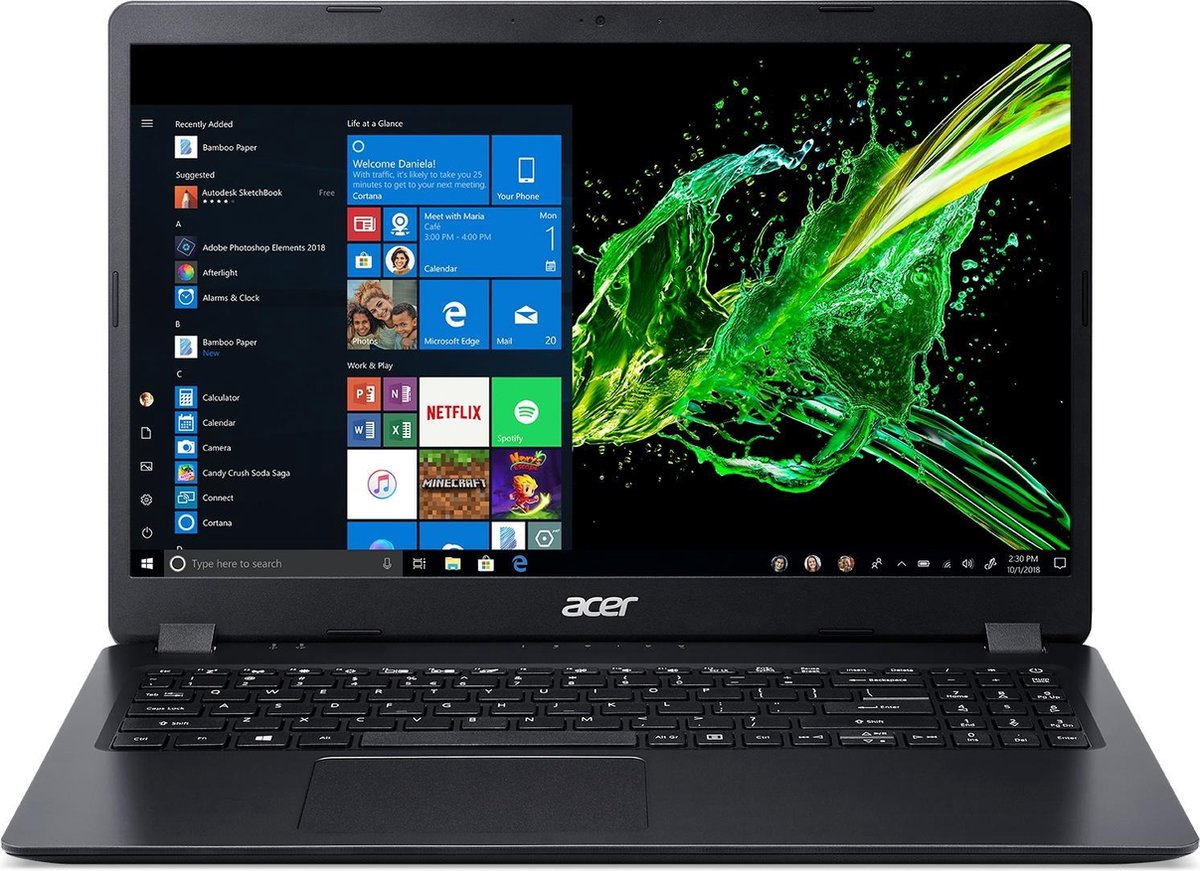 "Acer Aspire 3 A315-54-32WU Notebook 39,6 cm (15.6"") 1920 x 1080 Pixels Intel® 10de generatie Core™ i3 4 GB DDR4-SDRAM 128 GB SSD Wi-Fi 5 (802.11ac) Windows 10 Home S Zwart"