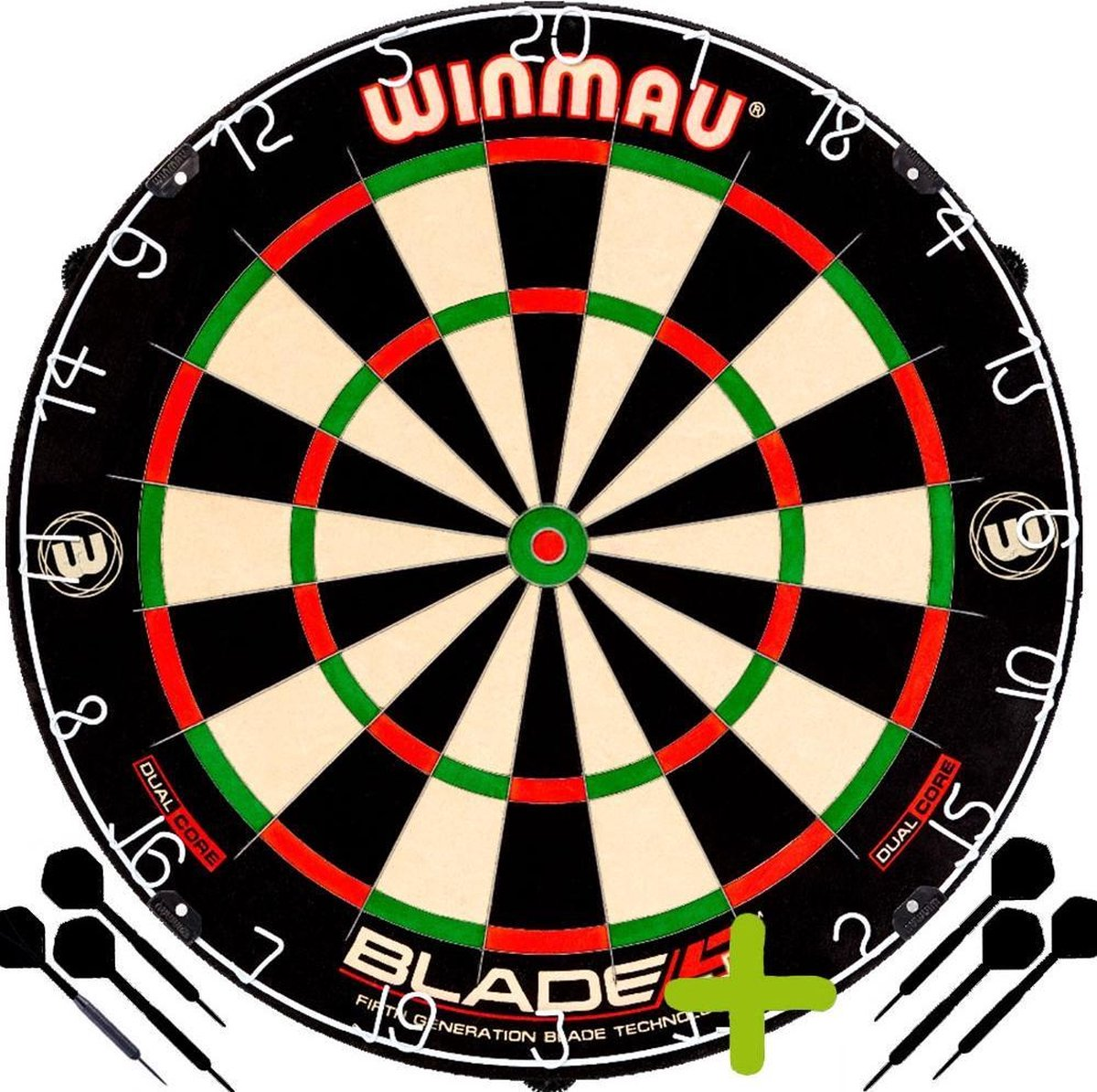 Winmau Blade 5 Dual Core + 2 Sets Black Brass