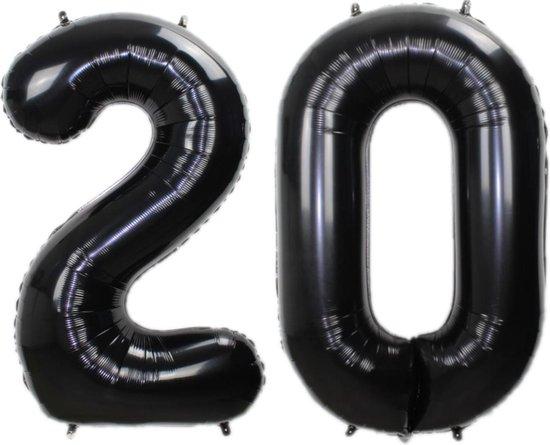 Folie Ballon Cijfer 20 Jaar Zwart 36Cm Verjaardag Folieballon Met Rietje