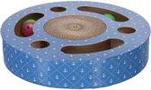 Trixie krabtrommel met ballen karton met catnip blauw 33x33x5,5 cm