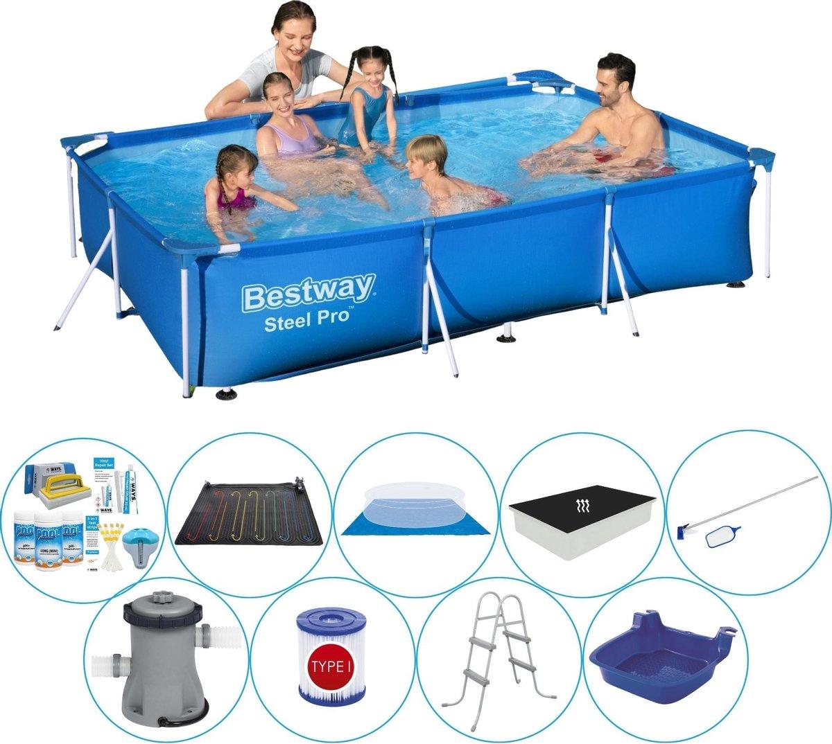Bestway rechthoekig zwembad - duo set - inclusief passend afdekzeil - 300 x 201 x 66