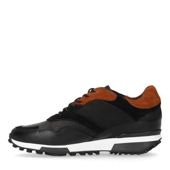 Manfield - Dames - Zwarte leren sneakers - Maat 38 vWiVYt7a