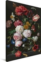 Stilleven met bloemen in een glazen vaas - Schilderij van Jan Davidsz de Heem Canvas 60x90 cm - Foto print op Canvas schilderij (Wanddecoratie woonkamer / slaapkamer)