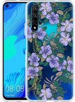 Huawei Nova 5T Hoesje Purple Flowers