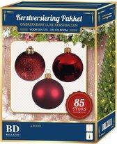Kerstbal en ster piek set 85x rood - voor 180 cm boom - Kerstboomversiering rood