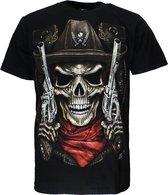 Skull Sheriff 2 Guns T-Shirt Zwart Glow in the Dark